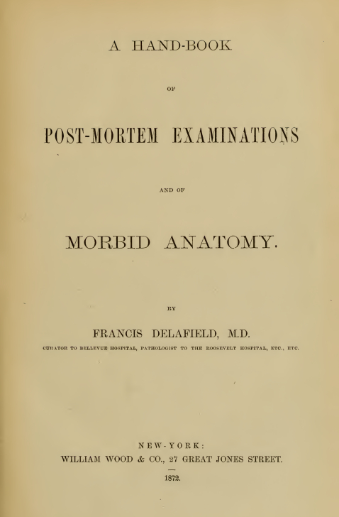 Delafield Post mortemExaminationBook